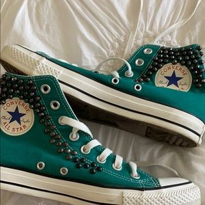 Studded teal converse